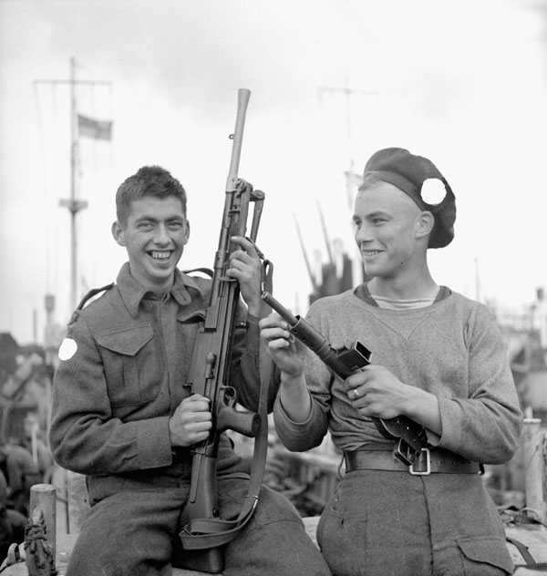 Infantrymen of the 9th Canadian Infantry Brigade aboard an LCI in Southampton, England.