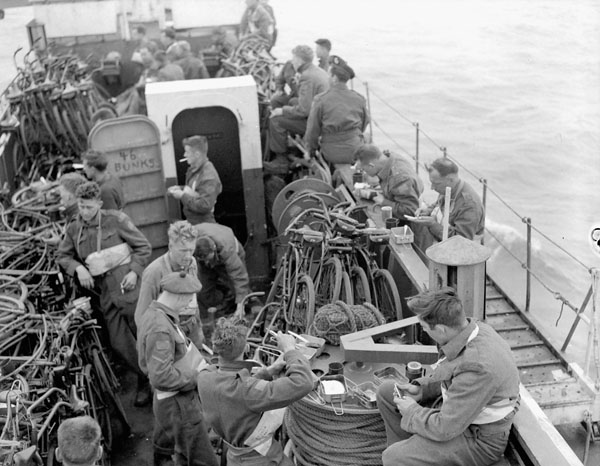Infantrymen of The Highland Light Infantry of Canada aboard LCI 306 en route to France on D-Day.