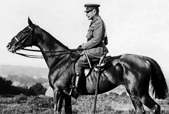 A formal portrait of Field Marshal Sir Douglas Haig on horseback at Poperinghe, 12 September 1917.