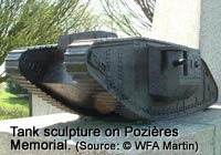 One of four tank sculptures on the Tank Memorial at Pozières, France.