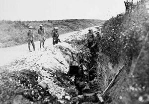 Newfoundland soldiers in St. John's Road  trench, July 1st 1916, before the attack.