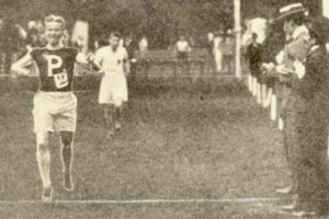 Canadian George Orton wins the 2500m Steeplechase in Paris 1900, representing the University of Pennsylvania.