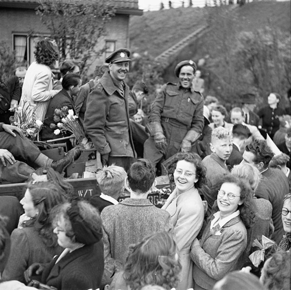 Dutch civilians celebrating the liberation of the Netherlands