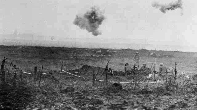 Shrapnel bursting over Canadian troops